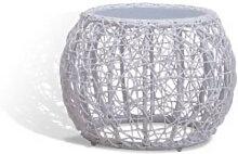 Table basse ronde en aluminium et rotin blanche