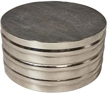 Table basse ronde mango gris pieds cylindrique alu