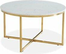 Table basse ronde marbre blanc & métal doré -
