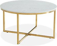 Table basse ronde marbre blanc & métal doré
