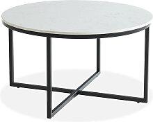 Table basse ronde marbre blanc & métal noir