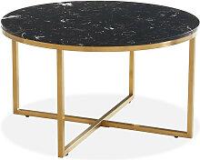 Table basse ronde marbre noir & métal doré