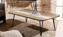 TABLE BASSE SCANDINAVE EN BOIS ET MÉTAL - MARIN