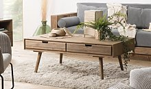Table basse scandinave en sapin 4 tiroirs - Noah