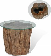 Table basse Teck Verre 50 x 40 cm - Topdeal