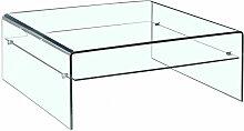 Table basse verre trempé design carré avec