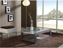 Table basse wengé avec 2 plateaux contemporaine