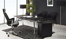 Table bureau moderne noire et chromée - Crunch
