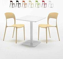 Table carrée 60x60 blanche avec 2 chaises