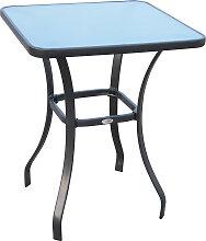 Table carrée bistro de jardin métal gris plateau