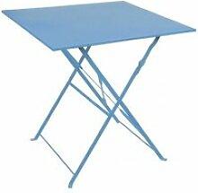 Table carrée de jardin pliable en métal bleu