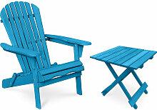 Table + Chaise de jardin Adirondack en bois - Set