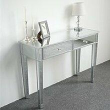 Table Console Miroir MDF et verre bureau