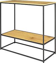 Table console  style moderne chêne noir