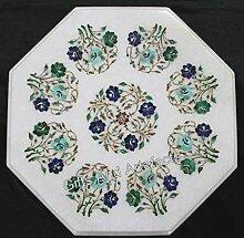 Table d'angle octogonale en marbre blanc avec