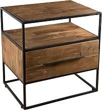 Table d'appoint 1 tiroir 1 étagère bois teck