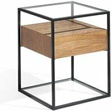 Table d'appoint 1 tiroir métal/verre/noyer -