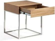 Table d'appoint 1 tiroir noyer/métal - kyor -