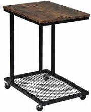 Table d'appoint à roulettes en mdf et métal