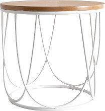 Table d'appoint bois et métal blanc D42 x H40
