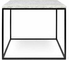 Table d'appoint carrée métal/marbre blanc -
