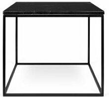 Table d'appoint carrée métal/marbre noir -
