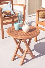 Table d'appoint de jardin en bois de teck