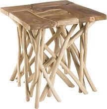 Table d'appoint design teck et bois flotté