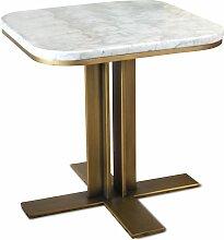 Table d'appoint en métal et marbre blanc
