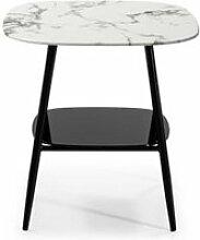 Table d'appoint marbre blanc verre/métal -