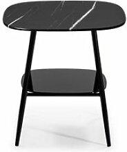 Table d'appoint marbre noir verre/métal -