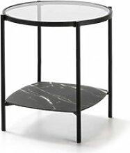 Table d'appoint marbre noirverre/métal - lyky