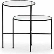 Table d'appoint ovale métal noir/verre -