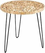 Table d'appoint ronde bois/noir - wood - l 75