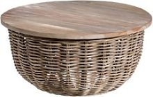 Table d'appoint ronde bois/rotin - tanar - l