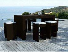Table De Bar & 6 Tabourets De Jardin taxco 200cm