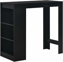 Table de bar avec etagere Noir 110x50x103 cm