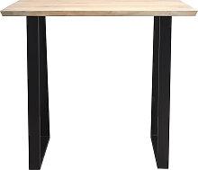 Table de bar en manguier massif et métal noir