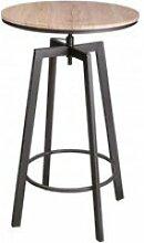 Table de bar ronde style industriel en bois et