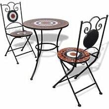 Table de bistro 60 cm et 2 chaises pour jardin