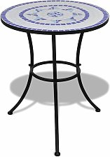 Table de bistro Bleu et blanc 60 cm Mosaïque
