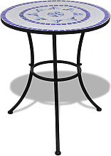 Table de bistro Bleu et blanc 60 cm Mosaique