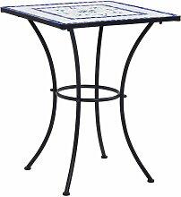 Table de bistro mosaïque Bleu et blanc 60