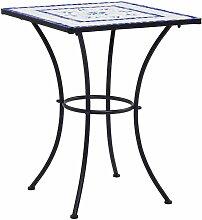 Table de bistro mosaique Bleu et blanc 60 cm