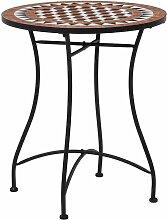 Table de bistro mosaïque Marron 60 cm Céramique