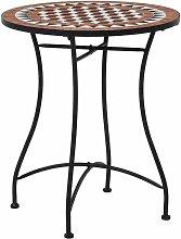 Table de bistro mosaique Marron 60 cm Ceramique