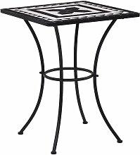 Table de bistro mosaique Noir et blanc 60 cm