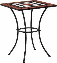 Table de bistro mosaïque Terre cuite et blanc 60