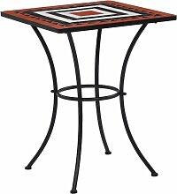Table de bistro mosaique Terre cuite et blanc 60