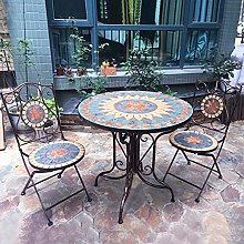 Table de bistro ronde de terrasse, ensemble de